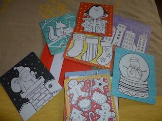 20 cartes de voeux a colorier 1 - Usborne - Les lectures de Liyah